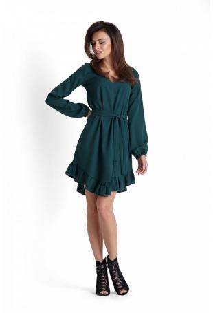 Romantyczna Zielona Zwiewna Sukienka z Falbankami Przewiązana Paskiem