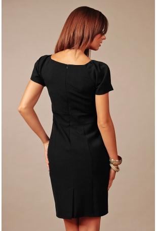 Czarna Wizytowa Sukienka z Dekoltem w Szpic z Krótkim Rękawkiem