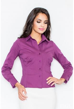 Klasyczna Koszula z Długim Rękawem w Kolorze Bakłażanu