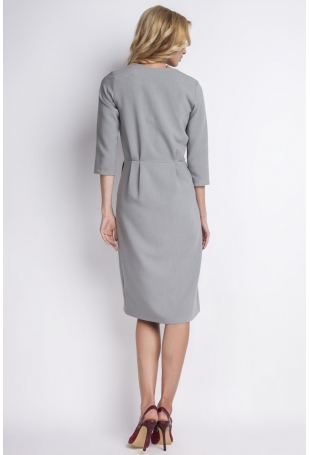 Szara Elegancka Sukienka Midi z Kopertowym Dekoltem