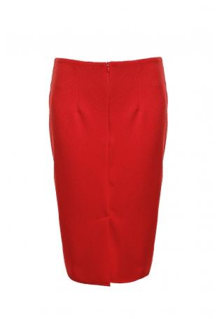 Czerwona Elegancka Ołówkowa Spódnica