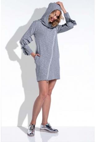 Szara Sukienka Mini z Falbankami na Rękawach Uszyta