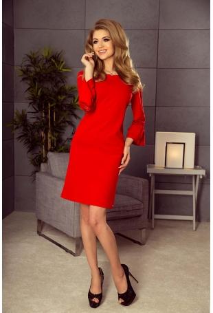 Czerwona Sukienka Wizytowa z Koronką na Rękawie