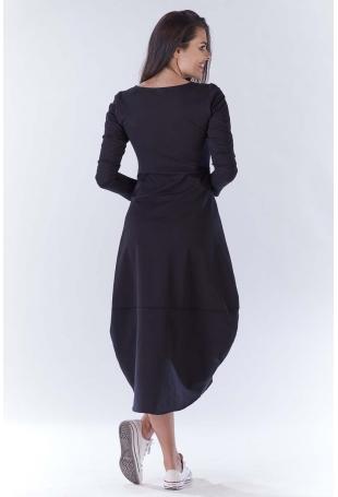 Czarna Długa Sportowa Sukienka Bombka