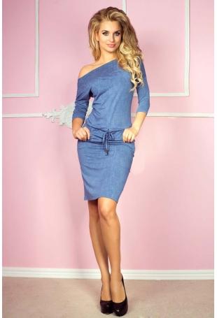 Niebieska Sukienka Sportowa Ściągana w Pasie