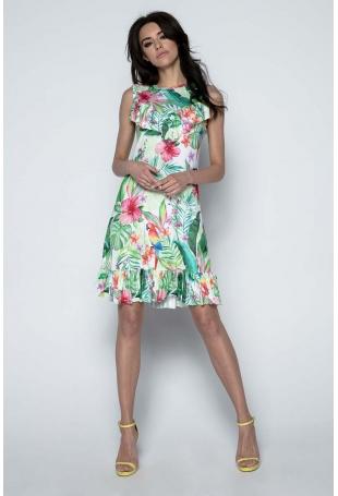 Sukienka z Tropikalnym Motywem z Falbankami