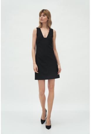 Mini Sukienka bez Rękawów - Czarna