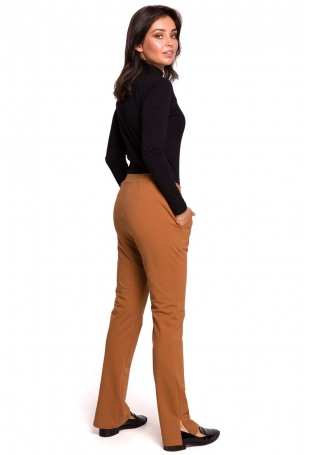 Karmelowe Dzianinowe Spodnie na Gumie z Rozciętymi Nogawkami