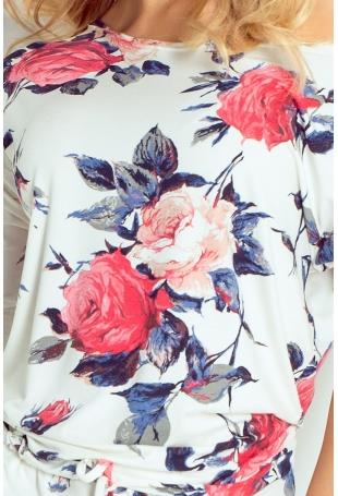 Sukienka w Róże Sportowa Ściągana w Pasie