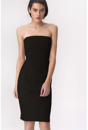 Czarna Efektowna Ołówkowa Sukienka z Odkrytymi Ramionami