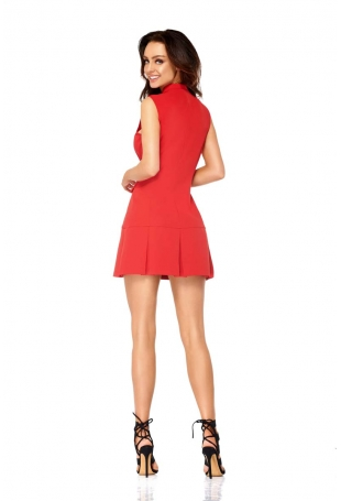 Czerwona Krótka Żakietowa Sukienka z Kontrafałdami
