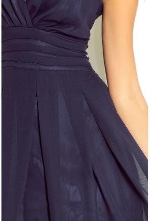 Granatowa Sukienka Wieczorowa z Szyfonu z Dekoltem V