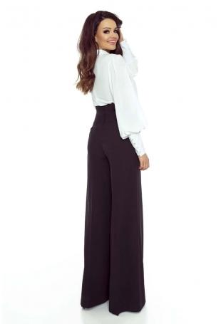 Czarne Spodnie z Szerokimi Nogawkami z Wysokim Stanem