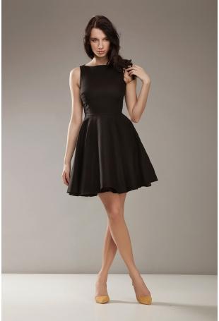 Czarna Elegancka Sukienka bez Rękawów