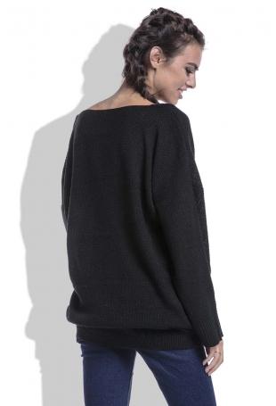 Czarny Sweter w Serek z Kieszeniami z Przodu