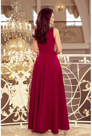 Bordowa Długa Rozkloszowana Sukienka z Dekoltem V