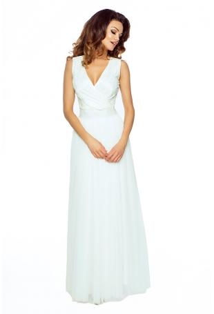 Ecru Elegancka Maxi Sukienka z Koronkową Górą