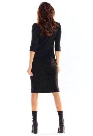 Czarna Ołówkowa Sukienka Midi z Prążkowanej Dzianiny