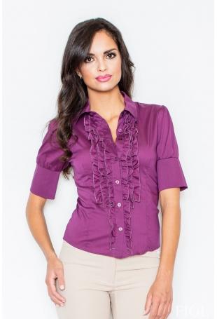 Elegancka Koszula z Falbankami w Kolorze Bakłażanu