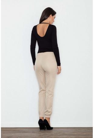 Beżowe Komfortowe Spodnie z Gumkami
