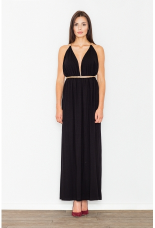 Czarna Elegancka Maxi Sukienka z Ozdobnym Złotym Sznurkiem