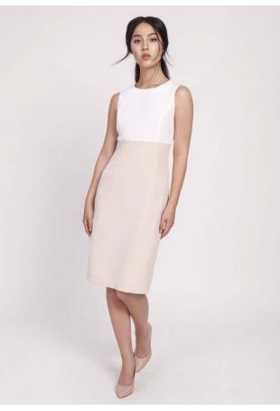 Beżowa Klasyczna Ołówkowa Sukienka z Łączonych Materiałów