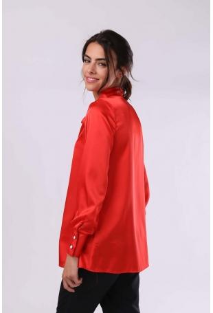 Czerwona Elegancka Bluzka z Wiązaną pod Szyją Szarfą