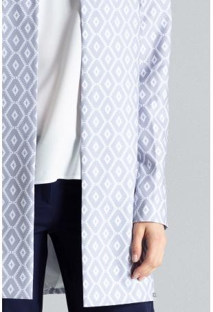 Pudełkowy Płaszcz bez Zapięcia w Biało -Szare Wzory