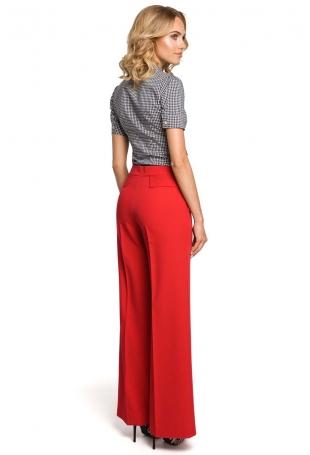 Czerwone Spodnie Eleganckie Szerokie w Kant