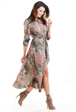 Brązowa Długa Sukienka Koszulowa w Cętki