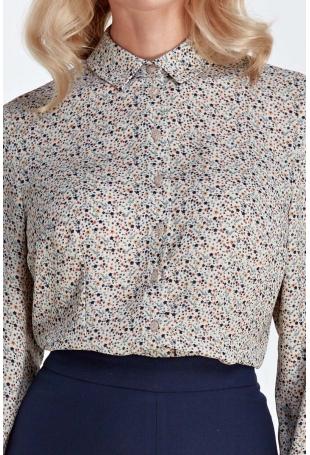 Ecru Koszulowa Bluzka w Drobne Kwiaty