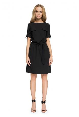 Czarna Codzienna Sukienka z Kieszeniami i Paskiem
