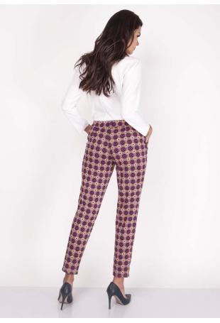 Fioletowe Spodnie Szykowne Wzorzyste