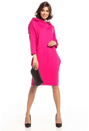 Dzianinowa Sukienka z Kapturem - Fuksja