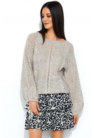 Oversizowy Beżowy Sweter z Ażurowym Rękawem