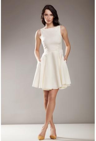 Kremowa Elegancka Sukienka bez Rękawów