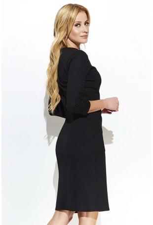 Czarna Prosta Dzianinowa Sukienka z Kieszeniami