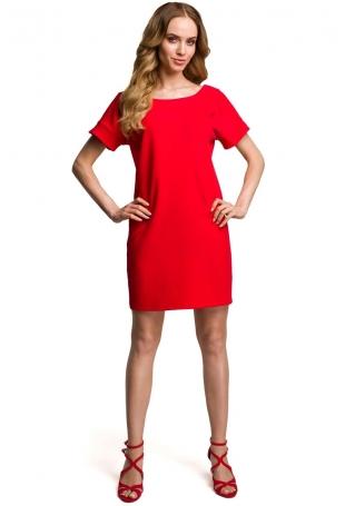 Czerwona Miejska Sukienka z Wycięciem i Kokardą na Plecach