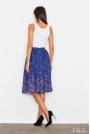 Niebieska Spódnica Rozkloszowana Midi w Kolorowe Kwiaty