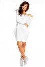 Biała Prosta Sukienka z Kieszeniami