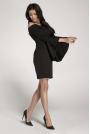 Czarna Ołówkowa Krótka Sukienka Asymetryczną Falbanką