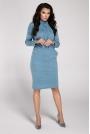 Niebieska Sukienka Midi z Półgolfem