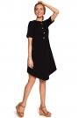 Czarna Rozkloszowana Asymetryczna Sukienka z Ozdobnymi Guzikami