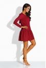 Bordowa Sukienka z Kokardą na Plecach