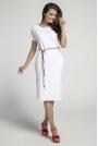 Biała Prosta Sukienka Midi Przewiązana Kolorowym Sznurkiem