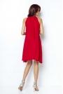 Czerwona Zwiewna Koktajlowa Sukienka z Dekoltem Halter na Stójce