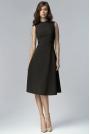 Czarna Elegancka Rozkloszowana Midi Sukienka bez Rękawów