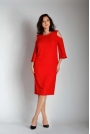 Czerwona Prosta Midi Sukienka z Rozkloszowanym Rękawem PLUS SIZE