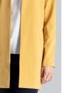 Żółty Pudełkowy Kobiecy Płaszcz bez Zapięcia