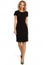 Czarna Ołówkowa Sukienka z Wycięciami na Plecach z Krótkim Rękawem